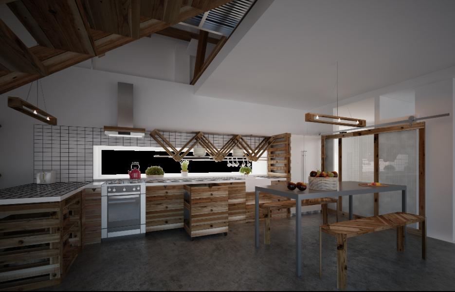 Návrh kuchyně 2014 do studie rodinného domu