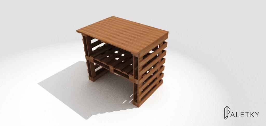 dřevěný mobilní stánek pult