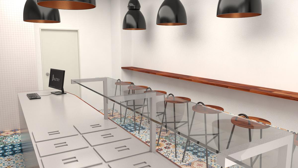 Paletky | recyklovaný nábytek z palet | Indická Restaurace Vizualizace 2 | nábytek na míru