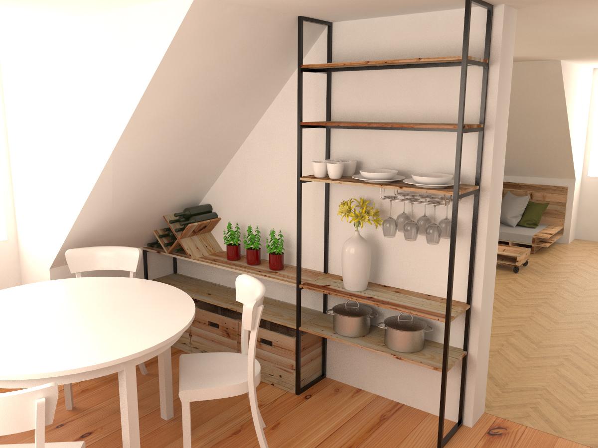 Paletky | recyklovaný nábytek z palet | Interiér Z Palet Vizualizace 1 | nábytek na míru