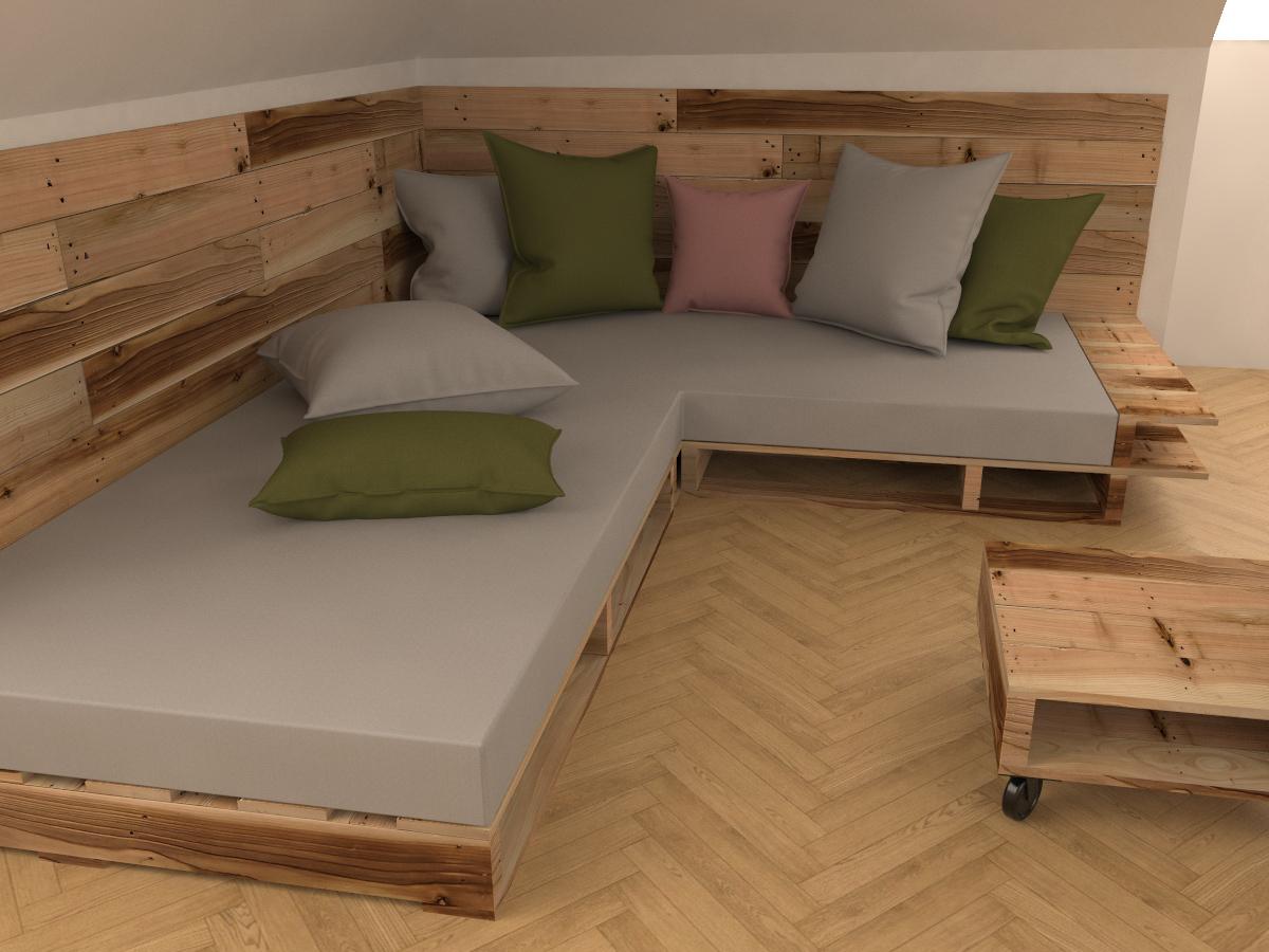 Paletky | recyklovaný nábytek z palet | Interiér Z Palet Vizualizace 4 | nábytek na míru