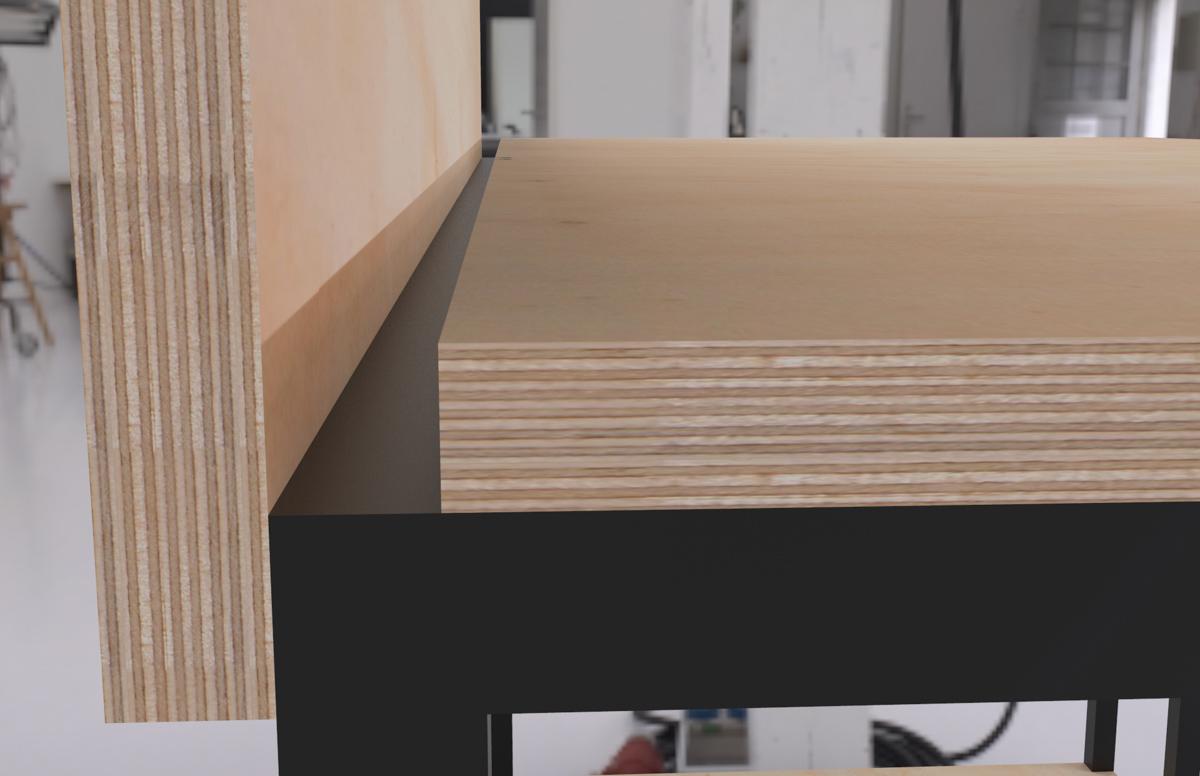 Paletky | recyklovaný nábytek z palet | Kancelářský Stůl Překližka Vizualizace 1 | nábytek na míru