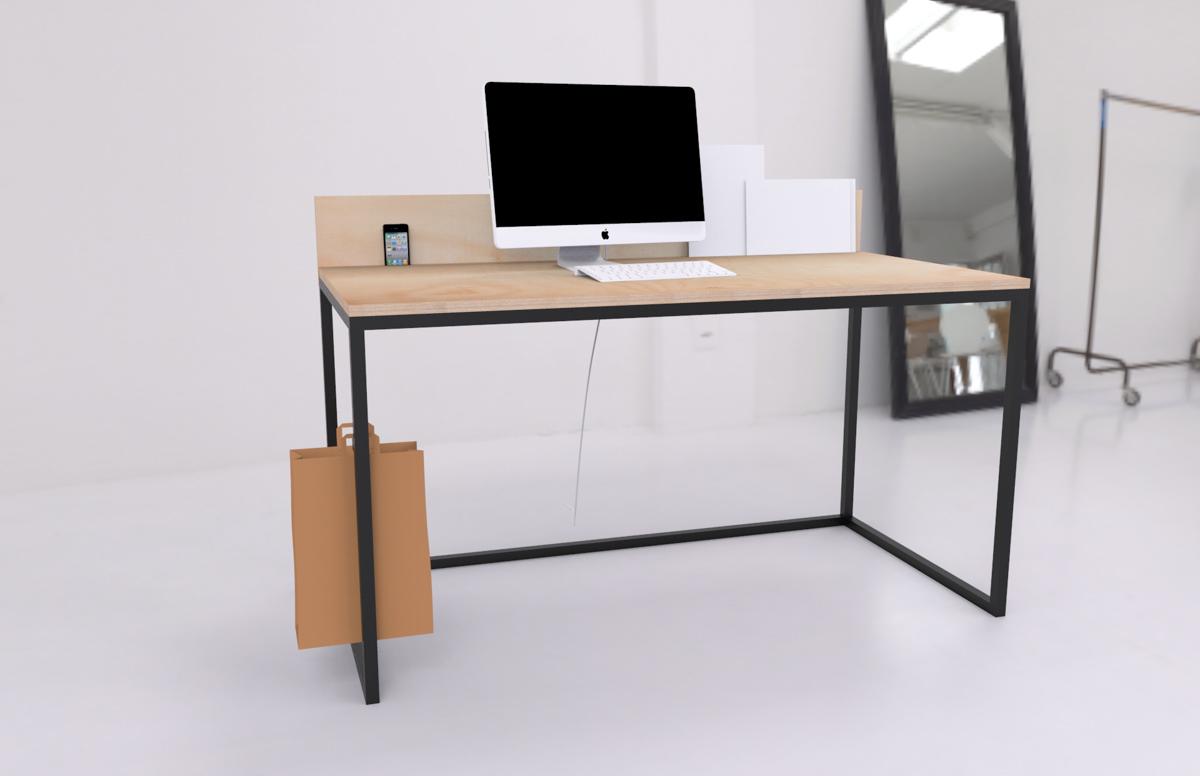 Paletky | recyklovaný nábytek z palet | Kancelářský Stůl Překližka Vizualizace 4 | nábytek na míru