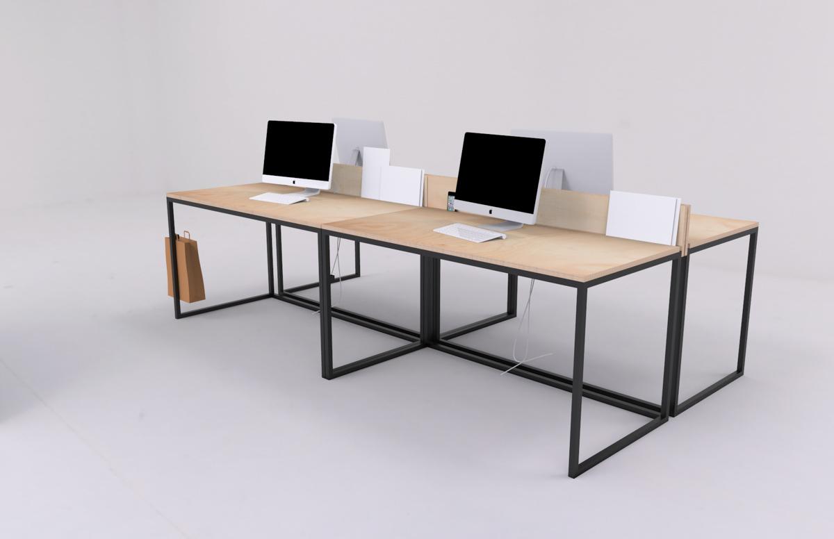 Paletky | recyklovaný nábytek z palet | Kancelářský Stůl Překližka Vizualizace 6 | nábytek na míru
