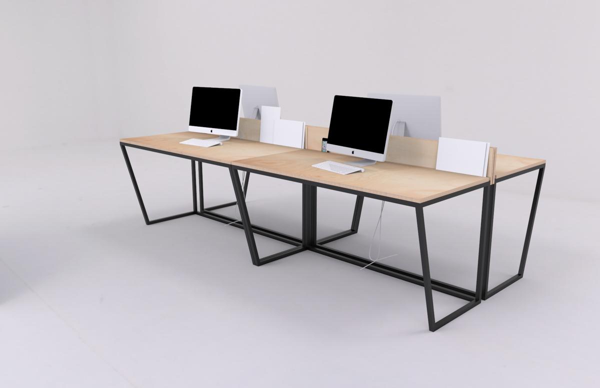Paletky | recyklovaný nábytek z palet | Kancelářský Stůl Překližka Vizualizace 7 | nábytek na míru