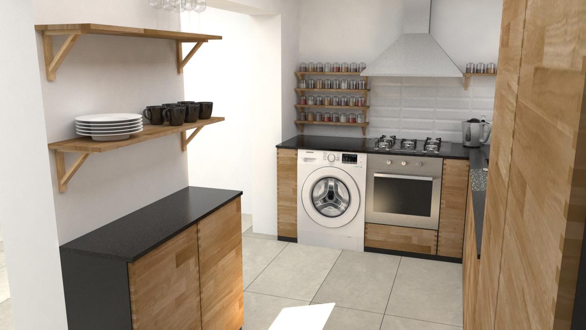 Paletky | recyklovaný nábytek z palet | Kuchyně Ribinový Spoj Vizualizace 2 | nábytek na míru