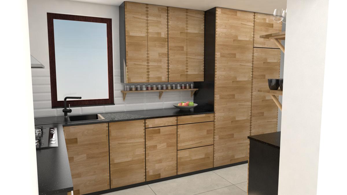 Paletky | recyklovaný nábytek z palet | Kuchyně Ribinový Spoj Vizualizace 3 | nábytek na míru