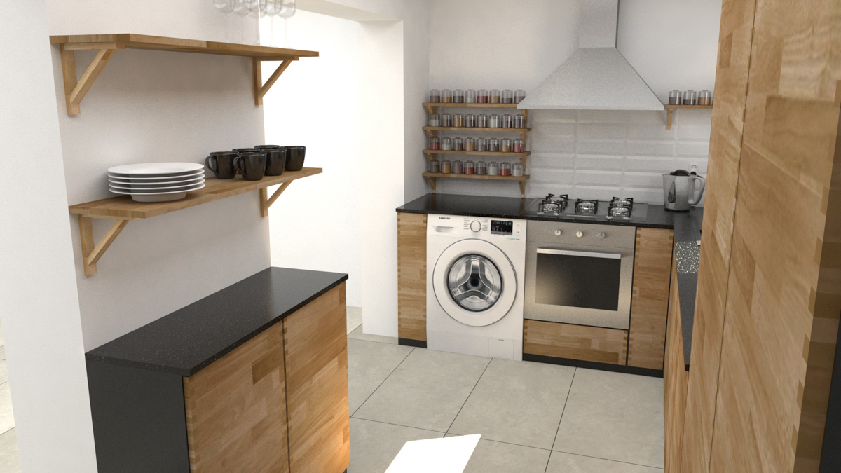 Paletky | recyklovaný nábytek z palet | Kuchyně Ribinový Spoj Vizualizace 4 | nábytek na míru