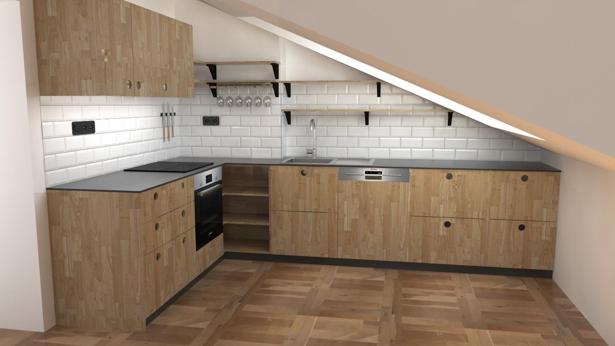 Paletky | recyklovaný nábytek z palet | R04kuchyně Podkroví Vizualizace 1 | nábytek na míru