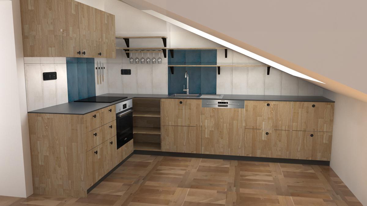 Paletky | recyklovaný nábytek z palet | R06kuchyně Podkroví Vizualizace 2 | nábytek na míru
