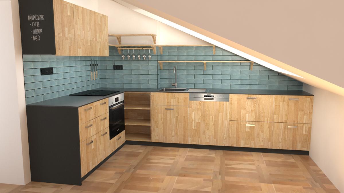Paletky | recyklovaný nábytek z palet | R07kuchyně Podkroví Vizualizace 3 | nábytek na míru
