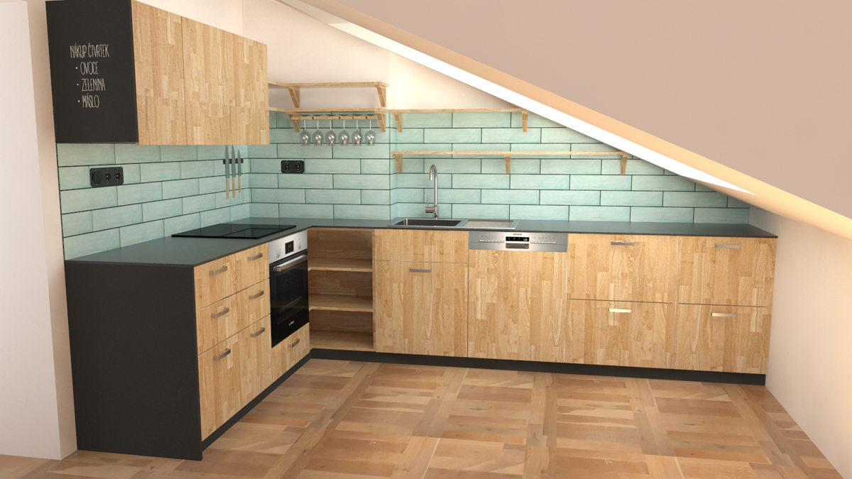 Paletky | recyklovaný nábytek z palet | R08kuchyně Podkroví Vizualizace 4 | nábytek na míru